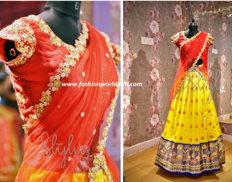 13e6aad0a6ad9e Tulle lehenga :- Tulle lehenga designs are also trending these days. If you  have lot of pattu lehengas you can try tulle lehengas .