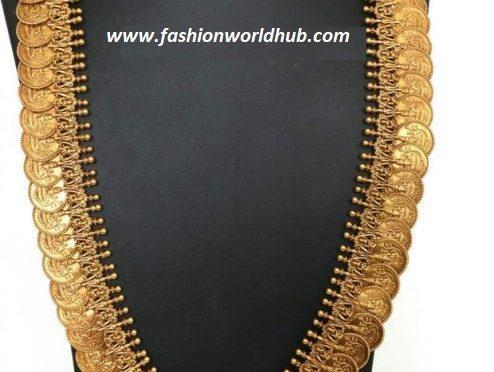 Lakshmi kasula haram with lakshmi pendant