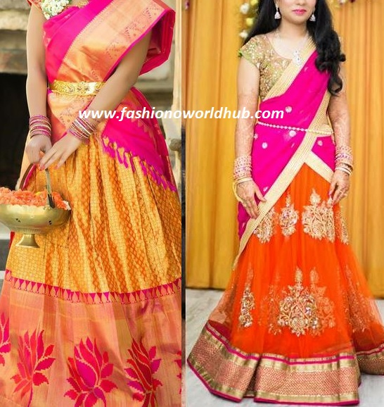 One Of The Outstanding And Ethnic Combination Is Orange Pink These Colour Rocks In Traditional Kanjeevaram To Designer Halfsaree This