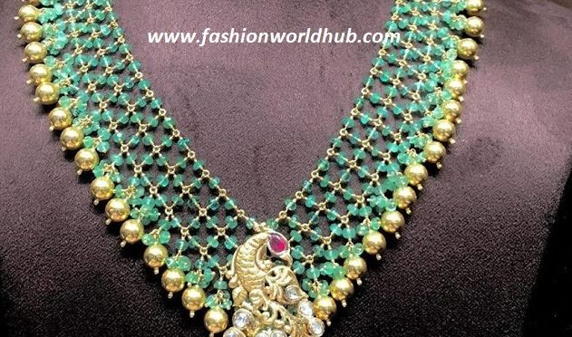 Green beads necklace with Flat diamond peacock pendant