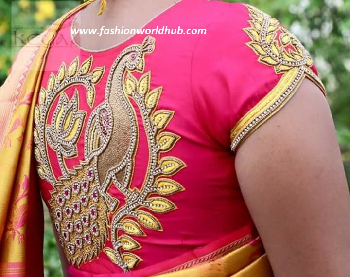 5ef478e1a5cc3f This perfect design on the back of the blouse is with colour embroidery  work designs ...
