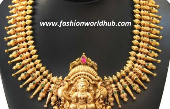 Gold necklace with Peacock lakshmi pendant