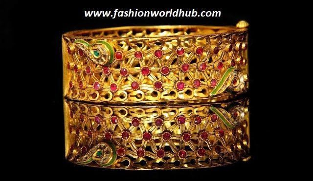 Unique gold Ruby Broad Bangle