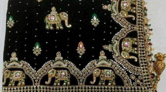 Kundan work designer sarees