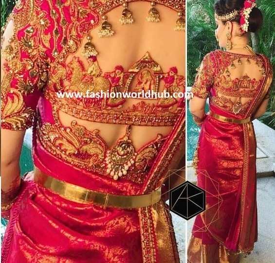 boat neck blouse for kanjeevaram saree fashionworldhub