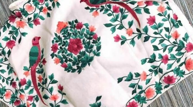 High neck Embroidery work blouse