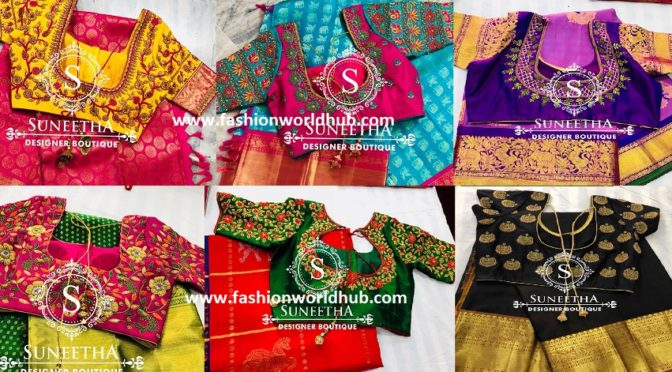 10 Gorgeous Pattu Sarees & Designer blouses by Suneetha designer boutique!