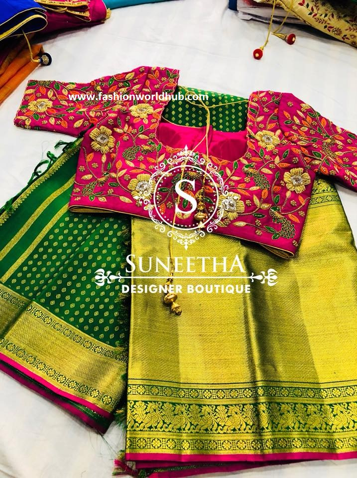 64abb6eaae472 Have a glance of below pattu saree with a beautiful elbow length sleeve floral  maggam ...