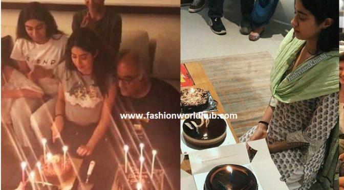 Janhvi Kapoor cuts birthday cake with kushi kapoor & Sonam.