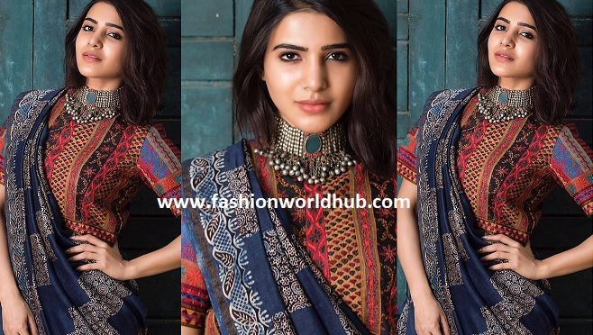 Samantha in Ajrakh print Handloom saree by Kamala