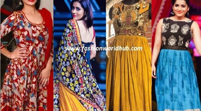 Gorgeous Kalamakari Anarkali & Gowns designs.