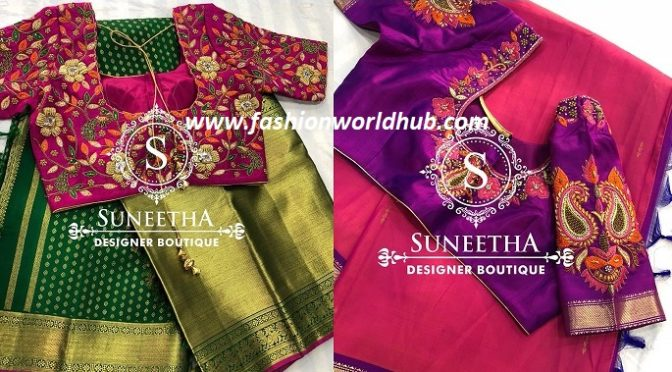 Beautiful Pattu saree and Maggam work blouse