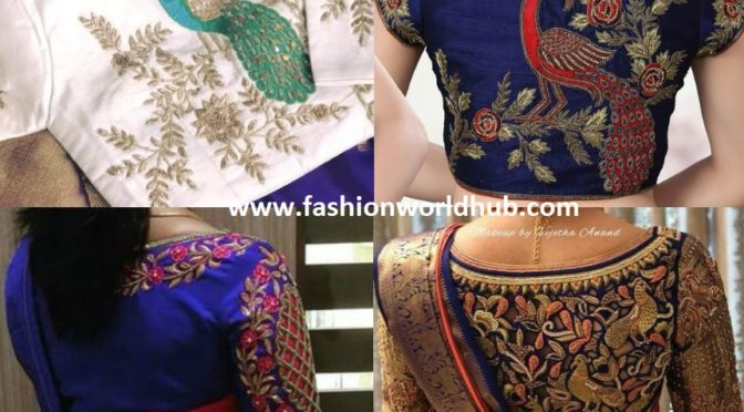 High Back Neck Embroidered Blouse Designs