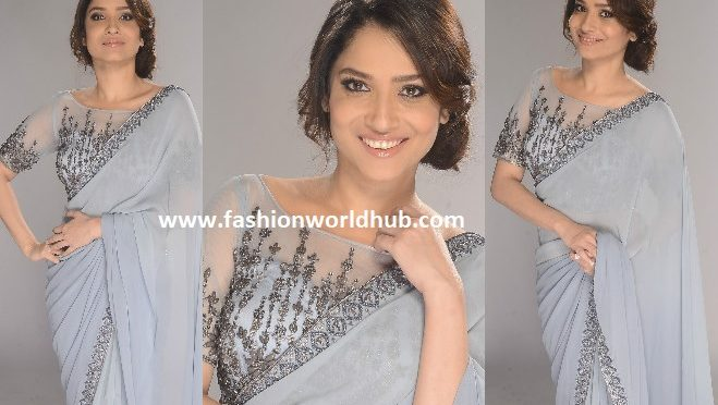 Ankita Lokhande in a grey designer saree