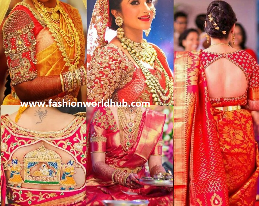 f983d076267874 For a wedding , trending bride always goes with the kanjeevaram saree . Red  embroidery works very well for the contrast colour sarees like Blue, Orange,  ...