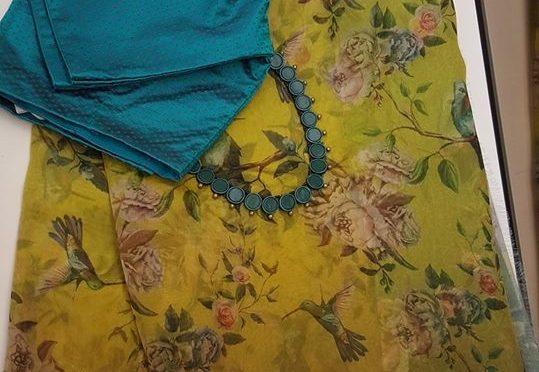 Floral print organza sarees by AAVARANAA