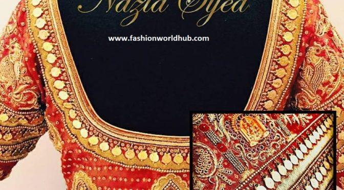 Bridal Kasu blouse designs by Nazia syed.