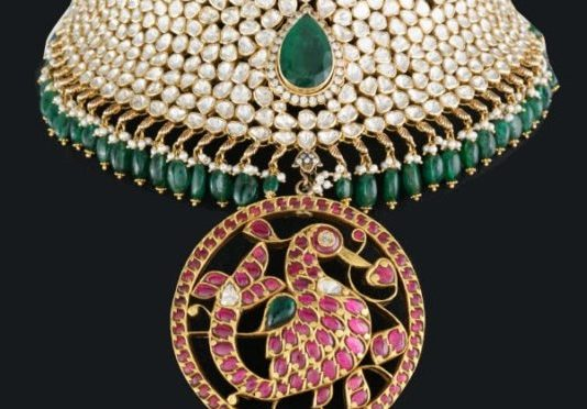 Polki Diamond Choker with Kundan peacock pendant