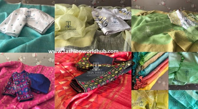 Classic Linen sarees with contrast blouses by Teja sarees.