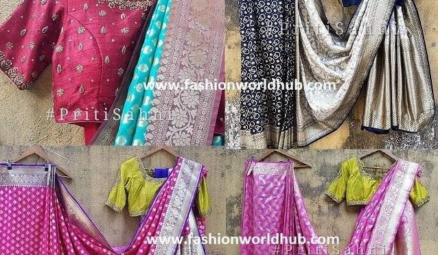 Classic Banarasi sarees with designer blouses by Pret'i by Priti Sahni