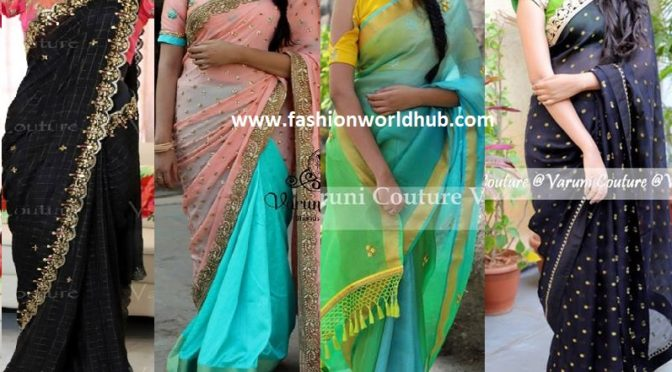 Designer saree and blouses by Varuni Gopen Collections