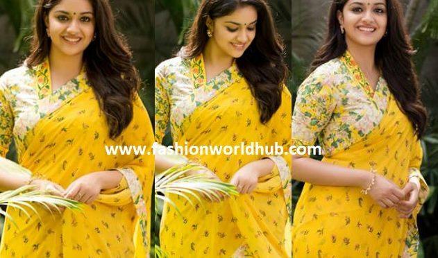 Keerthy Suresh in Yellow saree.