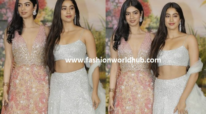 Janhvi Kapoor and Khushi Kapoor in Manish Malhotra at Sonam Kapoor's Reception