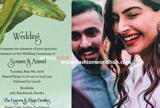 Check out the wedding invitation of Sonam Kapoor and Anand Ahuja's wedding