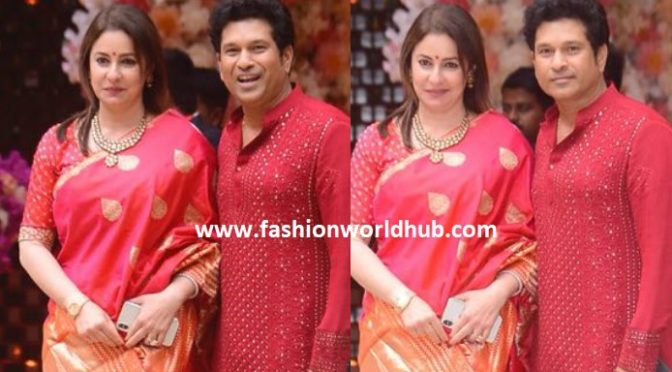 Sachin Tendulkar and Anjali at Akash Ambani and Shloka Mehta's engagement bash!