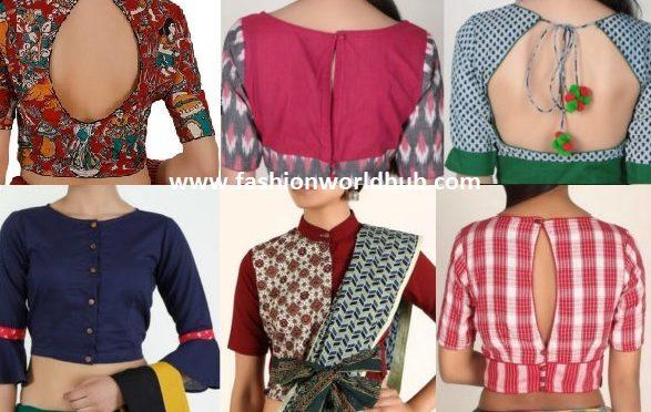 Stylish Cotton Saree Blouse Designs!
