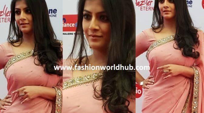 Varu Sarathkumar in Rehana Basheer designer saree at the Filmfare Awards