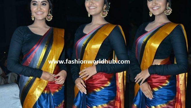 Anupama Parameswaran in multi colour saree