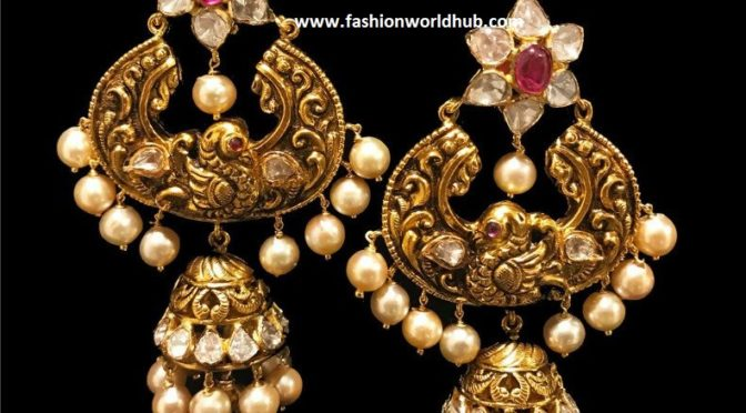 Antique Chandbali Jhumka Earrings