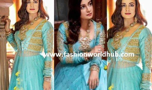 Dia Mirza in blue Anarkali by Pankhuri Jain