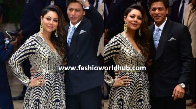 Shah Rukh Khan and Gauri at Akash Ambani and Shloka Mehta Engagement Bash