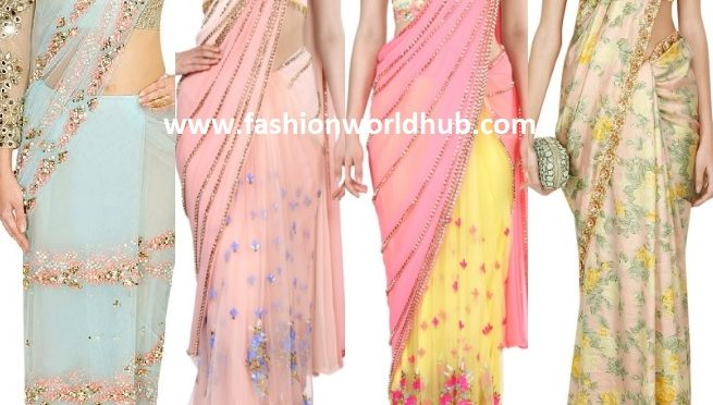 Pastel sarees are the Major hit for the Evening Parties!