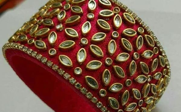 Silk Thread Kundan work bangles