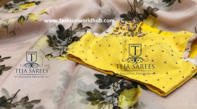 Organza saree with designer blouse