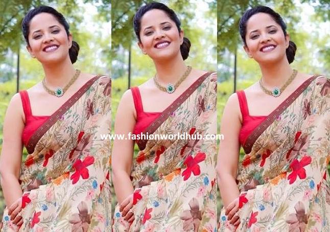 Anasuya bharadwaj in White designer saree at Zee Telugu