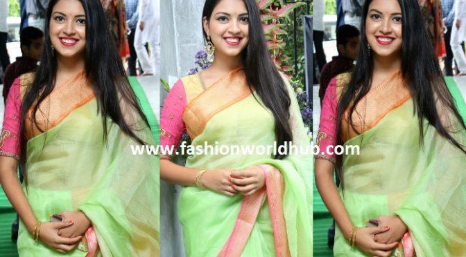 Yashu Mashetty in a green saree!
