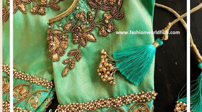Heavy Aari Work Designs for pattu sarees
