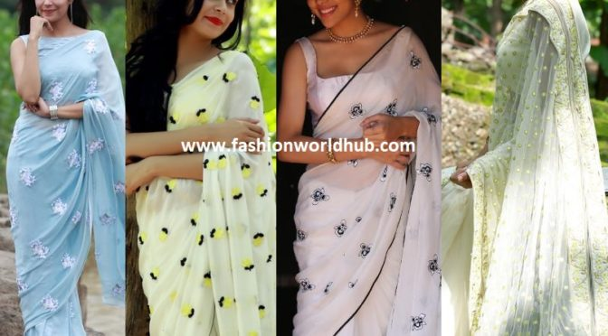 Simple yet stylish designer sarees by East and Grace (Shop online)