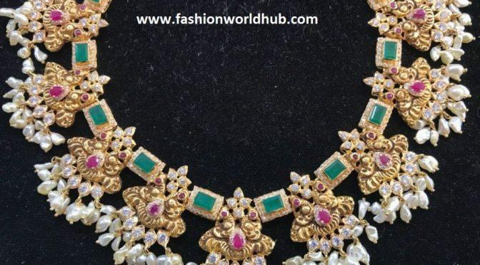 Emerald Peacock Guttapusalu Necklace