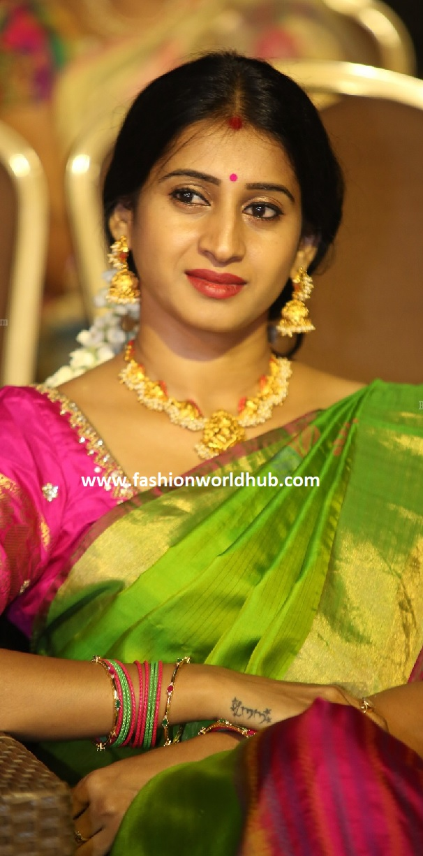 TV Actress Meena Kumari In Green Silk Saree Fashionworldhub