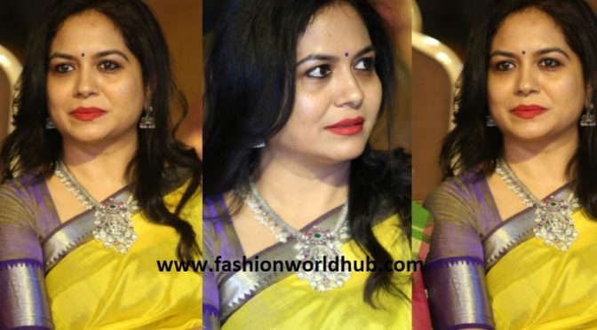 Singer Sunitha in Yellow silk saree at Srinivasa Kalyanam audio launch