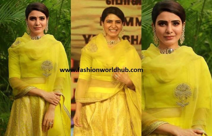 Samantha Akkineni In Raw Mango Yellow Lehenga At Seemaraja