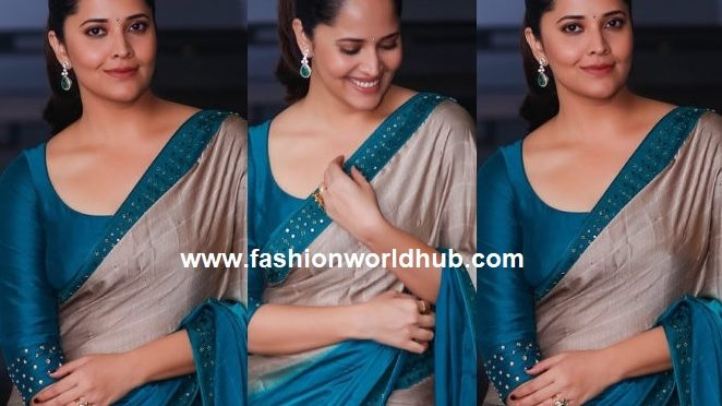 Anasuya in blue designer saree by Vasavi
