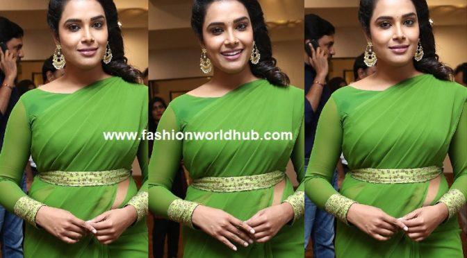 Hari Teja in a green saree by Duta Couture!