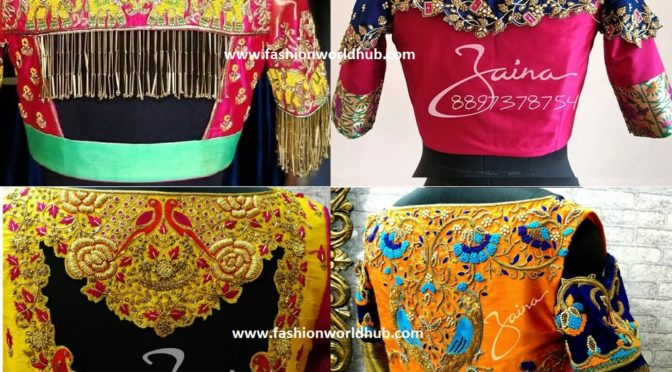 Mind blowing Designer Pattu Saree Blouse Models by ZAINA