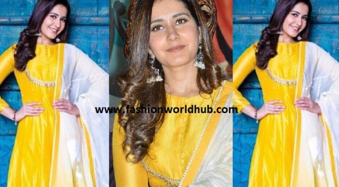 Rashi khanna in yellow Anarkali